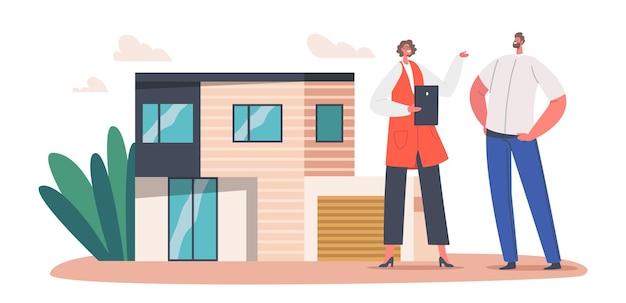 남자 클라이언트는 모기지, 임대 또는 구매, 부동산 부동산 개념을 위해 집을 선택합니다. 남성 캐릭터에게 집을 판매하는 부동산 중개인은 코티지 기능과 거래 옵션을 설명합니다. 만화 사람들 벡터 일러스트 레이 션