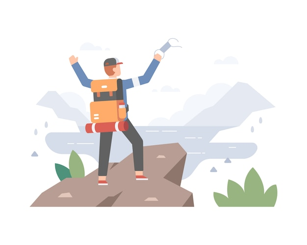 A man climbing and hiking a mountain alone to escape from coronavirus pandemic time and enjoy the life without wear a face mask illustration