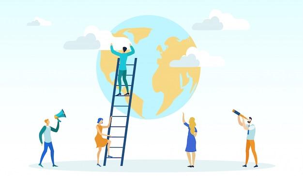 Man climbing ladder, getting to top reaching goal,
