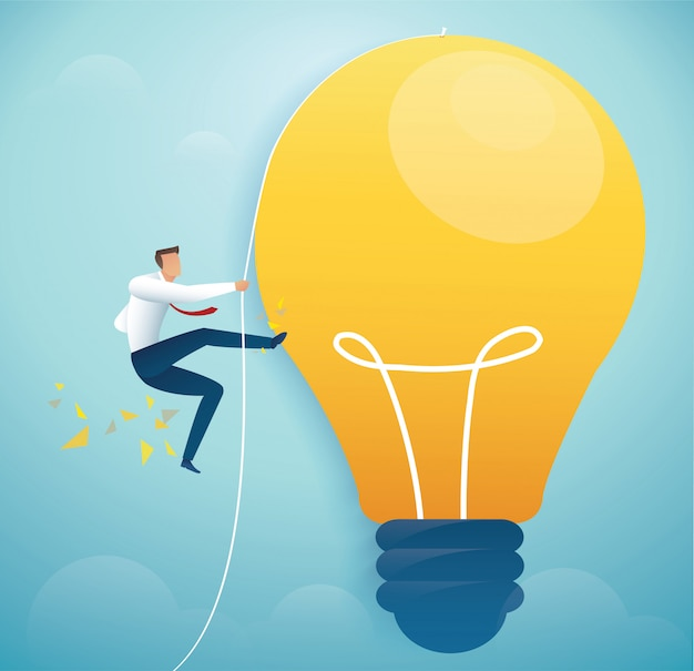 Man climbing on light bulb