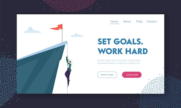 Man climbing on mountain with red flag on top. landing page template