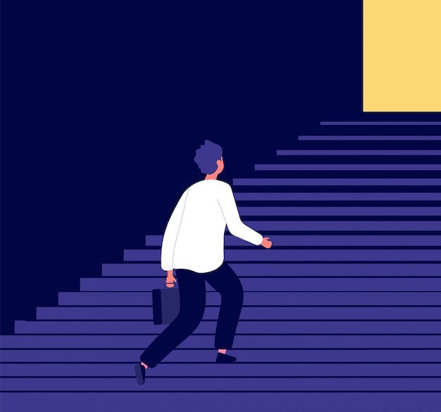 Man climbing steps. success in businessman career growth personal development challenge. ambitious aspirations to goals vector concept