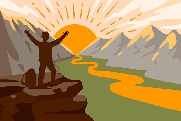 눈 덮인 산을 등반하는 남자 정상 정복의 기쁨 계곡의 풍경