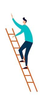 Uomo che sale la scala in legno, carriera o concetto di istruzione