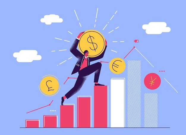 Человек поднимается на диаграмму и несет долларовую монету. управление инвестициями. рост денег.