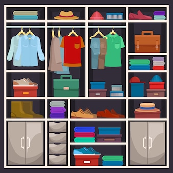 Man closet or male wardrobe with cloth