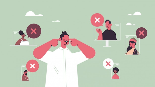 Человек закрывает уши страдает от шума, молчать, концепция чат пузырь с крестиком
