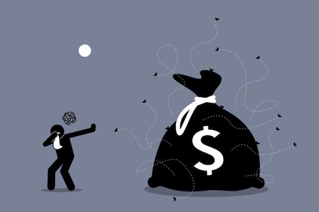 Мужчина закрывает нос и отвергает грязные и вонючие деньги, окруженный мухами.