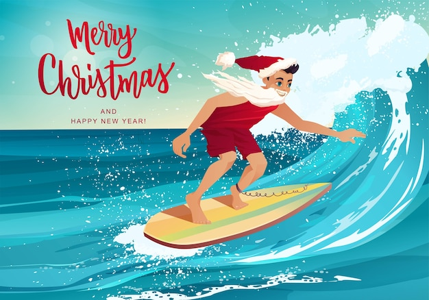 Man in clothes of santa claus surfing on the wave in tropical ocean. merry christmas hand lettering.