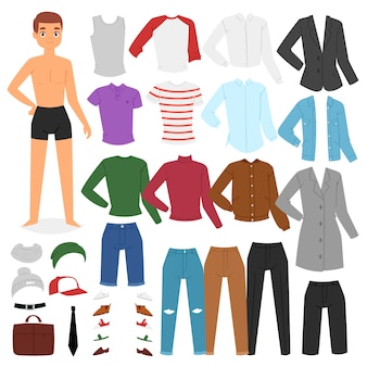 Man clothing  boy character dress up clothes with fashion pants or shoes illustration boyish set of male cloth for cutting cap or t-short  on white background