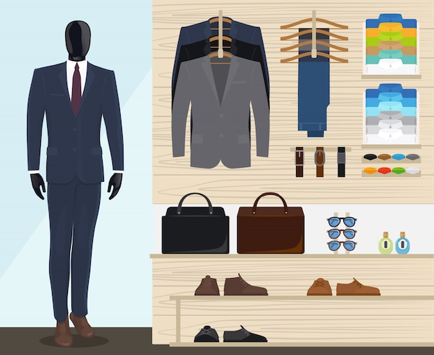 Man clothing store vector illustration