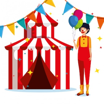 Man clown costume and circus with party banner