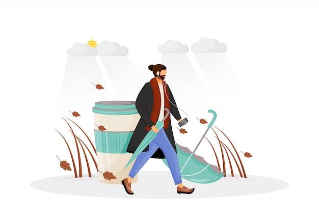 Man in coat go for walk