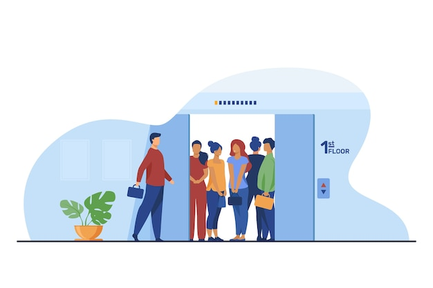 Man coming into overcrowded elevator cabin. building hall, open doors flat vector illustration. crowd, people in public place, social distance concept