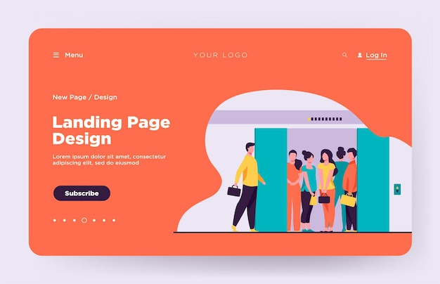 Man coming into overcrowded elevator cabin landing page