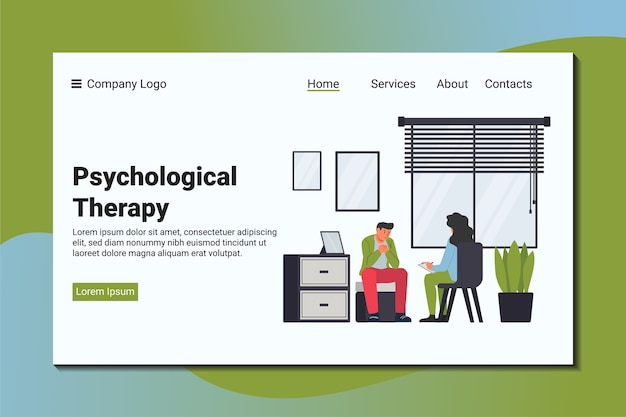 A man complains to a psychiatrist about his problem. psychological landing page template.