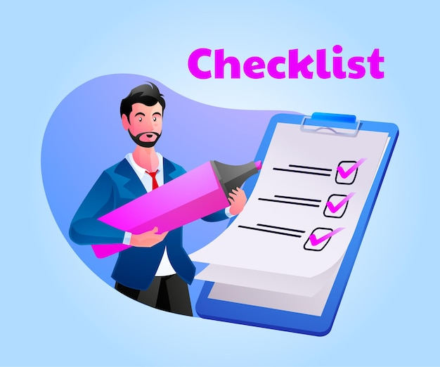 Man complete checklist on clipboard and paperwork