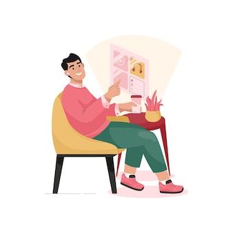 Человек управляет системой умного дома через сенсорную панель