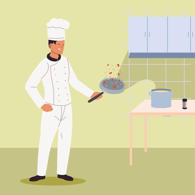 Человек готовит в униформе и сковороде в руке