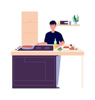 朝食を調理する男。台所の男、揚げ物や食べ物を焼く。