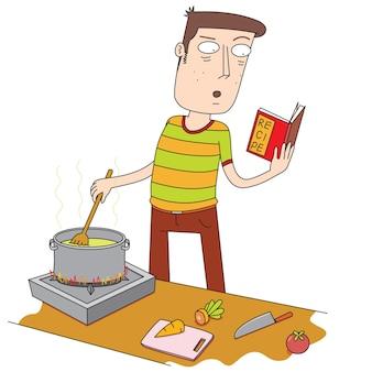 레시피 북을 사용하여 요리하는 남자