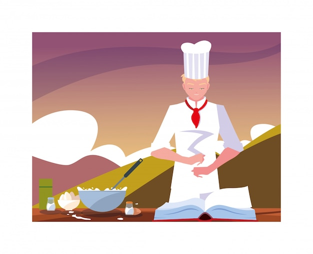 Man cooking, chef in white uniform