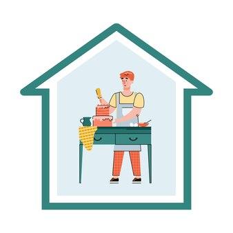 집에서 음식을 요리하는 남자