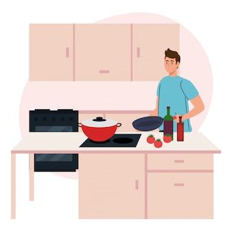 공급 및 야채와 함께 부엌 장면에서 요리하는 남자