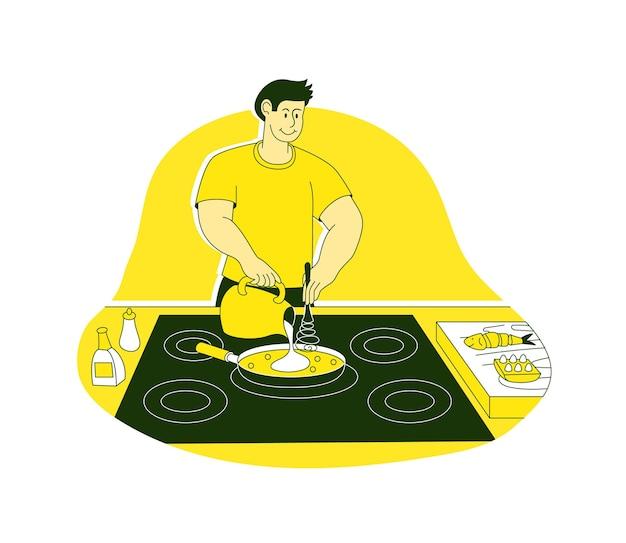 家庭の台所で朝食の食事を準備する料理人
