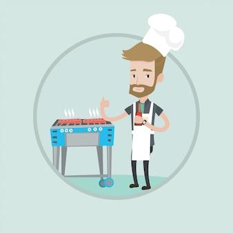 가스 바베 큐 그릴에 스테이크를 요리하는 남자.
