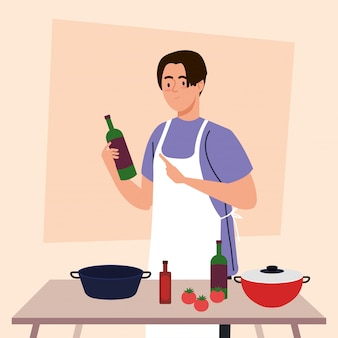 鍋、野菜、台所用品のエプロンと木製のテーブルを使用して料理人
