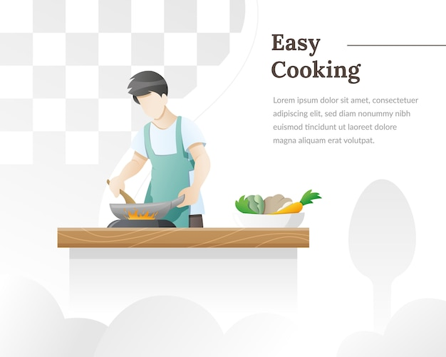 A man cooks food in the kitchen