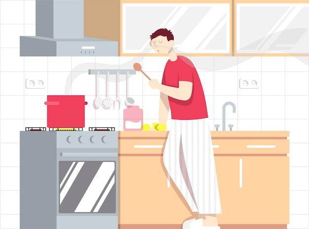 Человек готовит суп процесс приготовления в интерьере кухни концепция пищевого блоггера