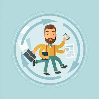 Man coping with multitasking