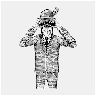 Man in costume looking through the binoculars, spyglass vintage old engraved or hand drawn illustration.