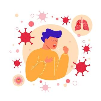 コロナウイルス肺炎の概念を咳する男