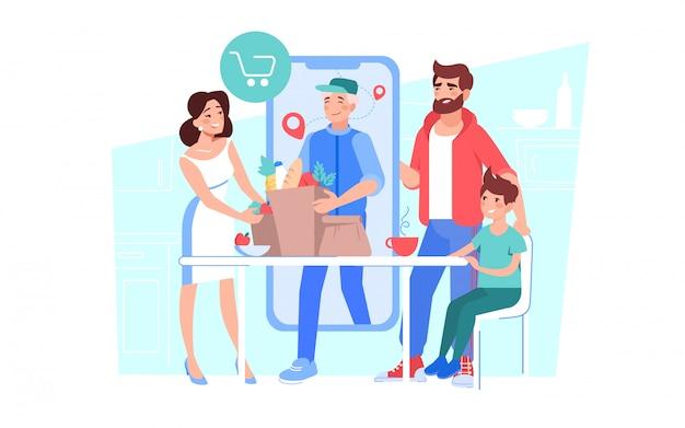 オンライン食料品の注文を配達する男の宅配便