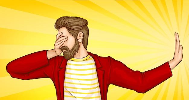 Человек закрывает глаза рукой и делает жест