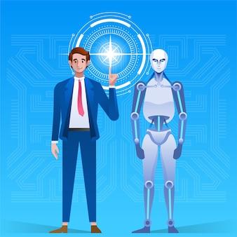 男はロボットを作成します。人間と人工知能の未来的なメカニズム技術革新的な外観