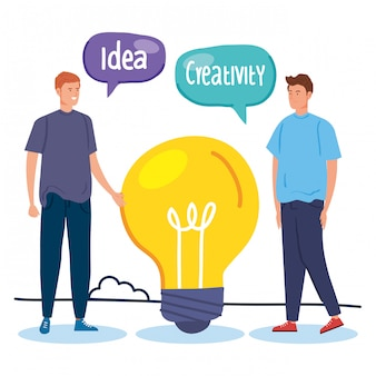 Man creative with light bulb and speech bubbles