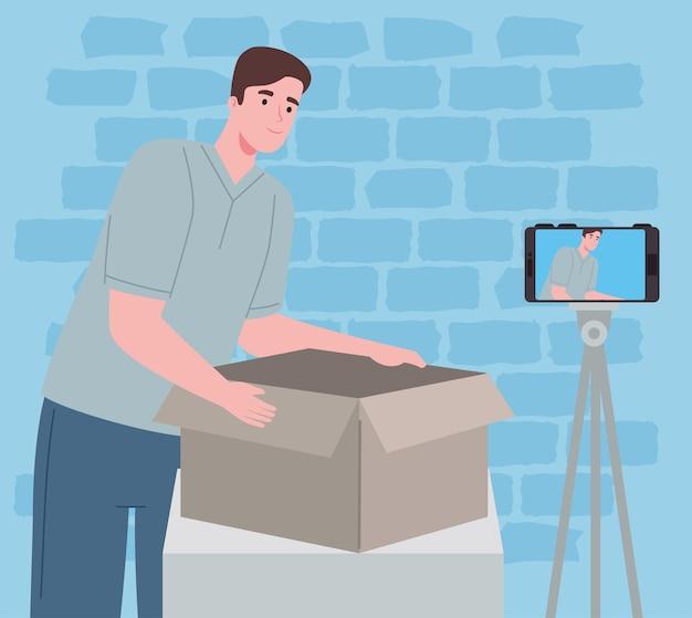 Man creator of content opening box