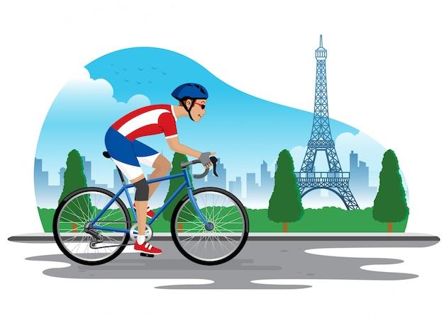 Человек на велосипеде во франции с фоном эйфелевой башни