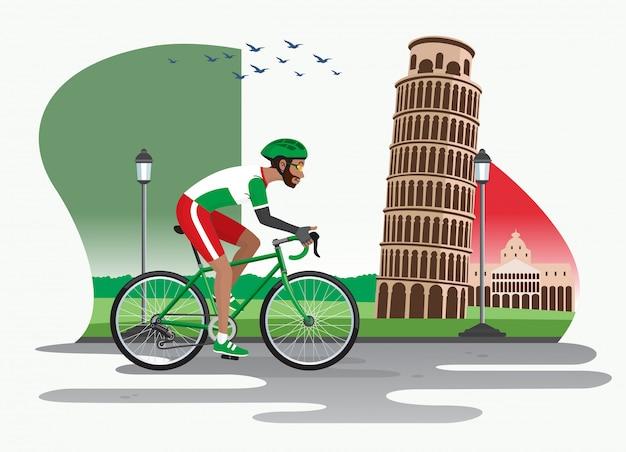 Человек на велосипеде в италии с пизанской башней в качестве фона