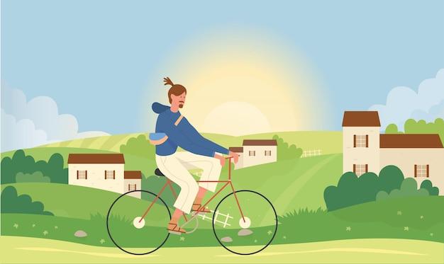 여름 자연 풍경 벡터 일러스트 레이 션에 자전거 남자. 작은 마을 마을 근처 만화 젊은 활성 남성 캐릭터 승마 자전거.