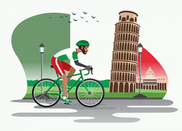 Man cycling in italy with pisa tower as background