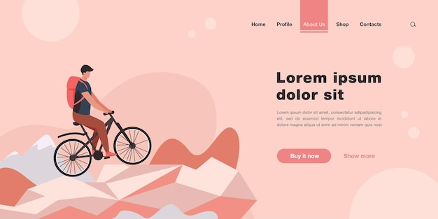 Man cycling on mountain bicycle landing page in flat style