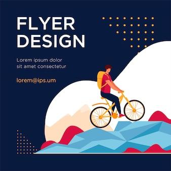マウンテンバイクでサイクリングする男。観光、自然、バックパックフラットチラシテンプレート