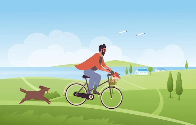 Man cycling in summer nature landscape, riding bicycle with flowers in basket, dog runs
