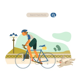 Man cycling workout in park vector flat illustration