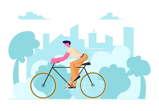 여름 날에 야외에서 남자 사이클 타고 자전거